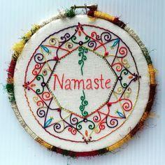 Namaste Mandala Hand Embroidered Hoop Art~  More pics and description at  CapriciousArts.com    #embroidery #embroideryhoop #hoopart #handembroidered #namaste #mandala #silk #bordado #wallart #whimsical #wrappedhoop #CapriciousArts
