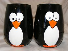 Hand painted stemless penguin wine glasses one pair by BeadedFrog, $25.00