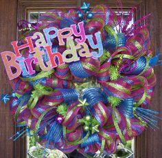 Deco Mesh HAPPY BIRTHDAY WREATH.  via Etsy.