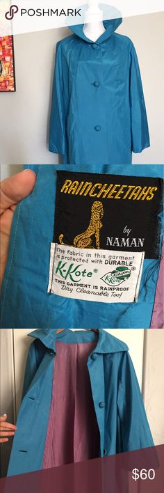Vintage Turquoise Trench Coat with Purple Lining Raincheetahs by Naman. Vintage turquoise rainproof trench coat with gorgeous purple lining. Dry cleaned and in excellent condition. Naman Jackets & Coats Trench Coats