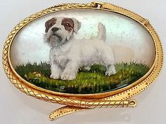Stunning Victorian Oval Essex Crystal Terrier Dog 14k Solid Gold Brooch Pin | eBay