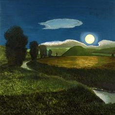 Silbury Hill in the Moonlight by David Inshaw on Curiator - http://crtr.co/13yu