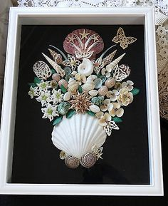 HANDMADE  SEASHELL SHADOW BOX IVORY & WH  BROWN SHELLS  FLOWERS  COLLECTABE ART | Collectibles, Decorative Collectibles, Nautical Décor | eBay!