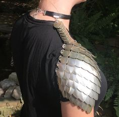 Scale Mail Shoulders  Armor Shoulders  by PixiePicasoCreations