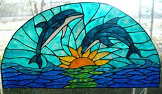 Dolphins in the sunset transom stained glass window cling 19 wide x 9 inches long by windows2thesoul on Etsy https://www.etsy.com/listing/66217430/dolphins-in-the-sunset-transom-stained