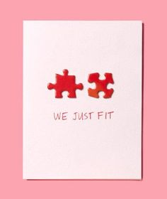 """DIY Valentines Day Card with Puzzle Pieces - :We Just Fit"""""""