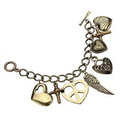 Bronze Heart Cross Wing Key Pendant Bracelet