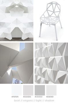 Style report #10  Facets and geometric rock shapes are increasingly seen in architecture and design. By using white, the shapes and three-dimensionality are more powerful. The shadows increases the from and the surfaces are matt and clean.  Pictures: Pinterest // Magis // Pinterest// 3form  If you are aware of the original source of picture 1 and 3 please let me know!
