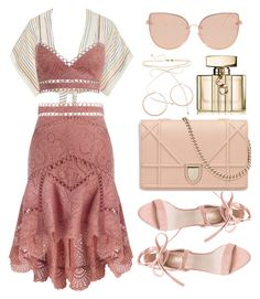 """""""Pretty in Pink"""" by apoorvakingar ❤ liked on Polyvore featuring Miguelina, Zimmermann, Jennifer Zeuner, Topshop, Gucci, contestentry, polyvoreset and prettyunderpinnings"""