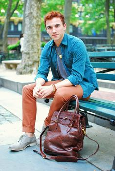 Nice pants, great shoes... the hair and the bag - not so much.  #men #style