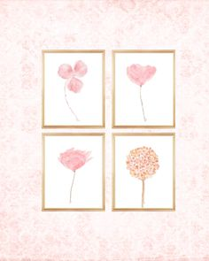 Blush Flowers Gallery Wall, 8x10 Set of 4 Watercolor Prints Blush Nursery, Blush Flowers, Watercolor Print, Gallery Wall, Prints, Light Pink Flowers