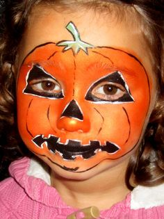 face painting for kids | Pumpkin halloween face painting design