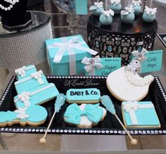 fb1469434a16 Decorated cookies at a Tiffany s baby shower party! See more party ideas at  CatchMyParty.