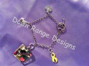 Hooah glass tile bracelet with 3 charms.    $15 including shipping and delivery confirmation