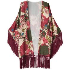 Garden Print Burnout Velvet Kimono With Fringe Trims (624.010 VND) ❤ liked on Polyvore featuring cardigans and floral