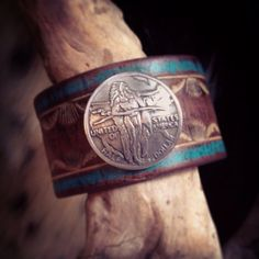Hand+Tooled+Rustic+Leather+Wristband+with+Genuine+by+dgierat,+$48.00