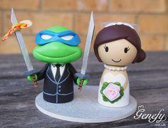 Cute Teenage Mutant Ninja Turtle (Leonardo) inspired and Bride wedding cake topper