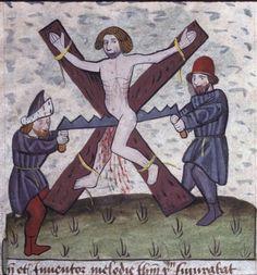 Lyon, Bibliothèque municipale, 0245 (0177), f.143 (Martyrdom of Isaiah).  Nicholas Trevet, Expositio in Boethii Consolationem philosophiae ; Miscellanea ; Speculum humanae saluationis (1462)