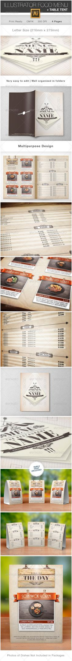 Elegant Food Menu Template - Food Menus Print Templates