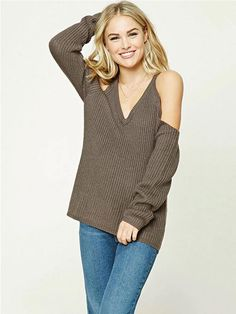 037c030563 Solid Color Knitting Straps V-neck Sweater Tops. Sexy Women 2017 Cold Off  Shoulder Casual Loose Knitted Sweater Winter Autumn V Neck Long Sleeve ...