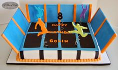 Trampoline park cake by A Piece of Cake Park Birthday, 6th Birthday Parties, Boy Birthday, Birthday Cake, Birthday Ideas, Trampoline Cake, Trampoline Birthday Party, Bolo Red Velvet, Cakes For Boys