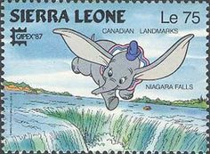Dumbo over Niagara Falls! Notice that it the Canadian side! Issued by Sierra Leone in 1987.