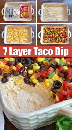 Easy Cold Make-Ahead Party Appetizer: 7 Layer Taco Dip -- The BEST quick and easy appetizer recipe to feed a crowd! It's made with simple ingredients: cream cheese, sour cream and taco seasoning for t Quick And Easy Appetizers, Easy Appetizer Recipes, Yummy Appetizers, Appetizers For Party, Easy Party Dips Cold, Dinner Recipes, Cold Party Food, Easy Dip Recipes, Easy Dips To Make