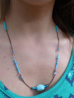 Amazonite Blue Bar Statement Bib Necklace with by SimplyAffinity, $20.00 #gemstone #necklace #etsy #jewelry #beauty #fashion #amazonite #gemstonenecklace
