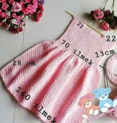 Baby Sweater Knitting Pattern, Baby Hats Knitting, Knitting For Kids, Baby Knitting Patterns, Baby Patterns, Girls Knitted Dress, Knit Baby Dress, Diy Crafts Dress, Crochet Dog Clothes