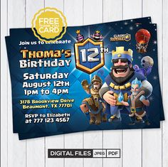 Clash Royale Invitation with Free Thank You Card Clash