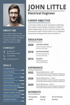 Free Electrical Engineer Fresher Resume Template If you like this cv template. Check others on my CV template board :) Thanks for sharing! Creative Cv Template, Sample Resume Templates, Resume Design Template, Resume Template Free, Free Resume, Resume Cv, Free Professional Resume Template, Sample Resume Format, Cv Format For Job