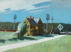 Edward Hopper (American, 1882-1967), Railroad Crossing, 1922-23. Oil on canvas, 74.8 x 101.8 cm.via dappledwithshadow