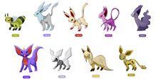eeveelutions fakemon by Pokemon Eeveelutions, Eevee Evolutions, Pokemon Funny, Pokemon Fake, Nintendo Pokemon, Curious Creatures, Pokemon Fusion, Pokemon Pictures, Fantasy Creatures