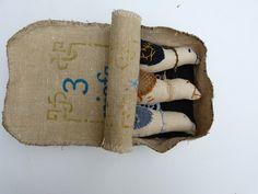 """Kit nostalgique,""""Où sont passés les passereaux..""""Trois oiseaux en lin et tissus anciens dans une boîte de conserve (pur : Textiles et tapis par a-bouche-decousue"""