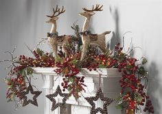 Christmas Mantle Idea  nice and simply beautiful