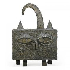 PAUL EVANS (1931 - 1987)PAUL EVANS STUDIORare Sculptured Metal cat cabinet, New Hope, PA, 1971 Bronze, composite, brass Signed and dated Ove