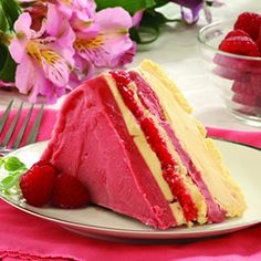This looks seriously good!  Frozen Raspberry Layer Cake
