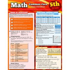 BarCharts' Math Common Core State Standards 5th grade laminated study guide aligns with the common core state standards to help guide students through 5th grade