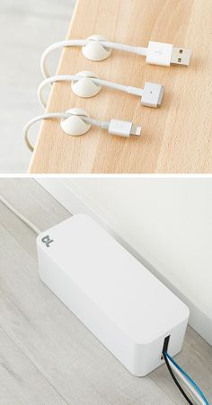 Our CableDrops are the ideal way to keep cords in place. Their simple design is unobtrusive, yet effective. And our CableBox neatly conceals a variety of cords and cables with room for your power strip, power adapter or block charger