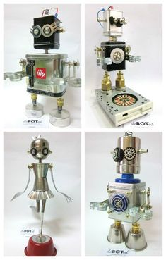 deBOTed means devotion for Robots. deBOTed creates hand-made figures of robots made with recycled parts and materials, or daily use material, using manual