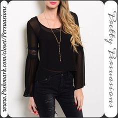 "NWT Black Bell Sleeve Lace Inset Boho Top ~ S NWT Black Bell Sleeve Lace Inset Boho Top ~ LAST ONE  Available in sizes: S, M  This Listing is for a Size: Small  Measurements taken in inches from a size small:  Length: 20""/23"" (front/back length) Bust: 34""  Features a sheer body with lace insets, bell sleeves & relaxed easy fit. Pairs perfectly with just about anything and gives the normal blouse a more updated, trendy look!   Bundle discounts available  No pp or trades Pretty Persuasions…"