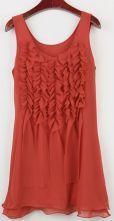 Red Sleeveless Ruffles Pleated Front Shift Chiffon Dress $39.68   #SheInside