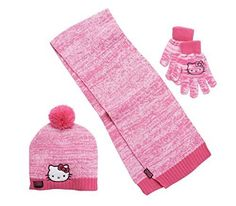 2f4843fabb9 Girls Hot Pink Hello Kitty Knit Cold Winter Set-- Hat