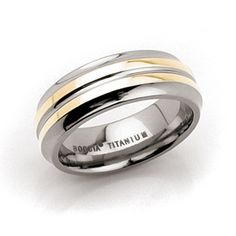 Titanium Ring with 2 Lines of 14kt Gold