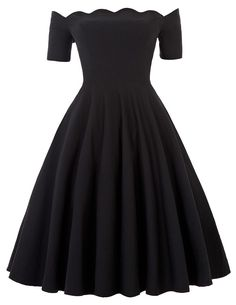 Off Shoulder Dress Audrey Hepburn Vestidos Vintage 50s 60s Rockabilly Casual Robe Pin Up Swing Black Party Dresses With Sleeves