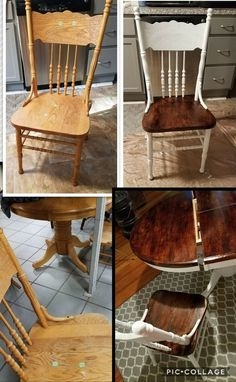 End table furniture makeover idea! Give your drab boring end tables a facelift with this gorgeous DIY furniture makeover and restoration idea that uses Heirloom Traditions Paint and Antiquing Gel! Refurbished Furniture, Repurposed Furniture, Furniture Makeover, Painted Furniture, Refurbished Kitchen Tables, Kitchen Chairs Painted, Painting Kitchen Chairs, Refinishing Kitchen Tables, Refinished Chairs