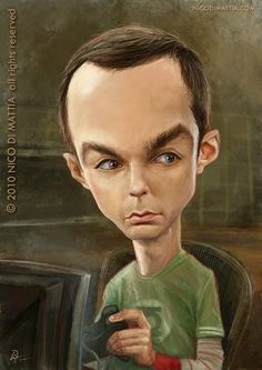 Jim Parsons -Sheldon Cooper #caricaturas #caricatures #celebrities Big bang theory