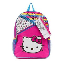 9f202bbbb Hello Kitty Pattern Backpack with Side Pockets Pencil Case and Stickers