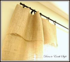 Down to Earth Style: Burlap Window Panels {No Sew ~ No Iron}