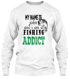 My Name John Fishing  Long Slepp White Long Sleeve T-Shirt Front
